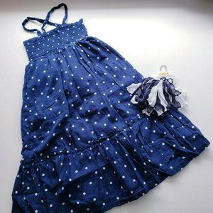 OLD NAVY  Blue Ruffle Polka Dot Dress & Hair Tie